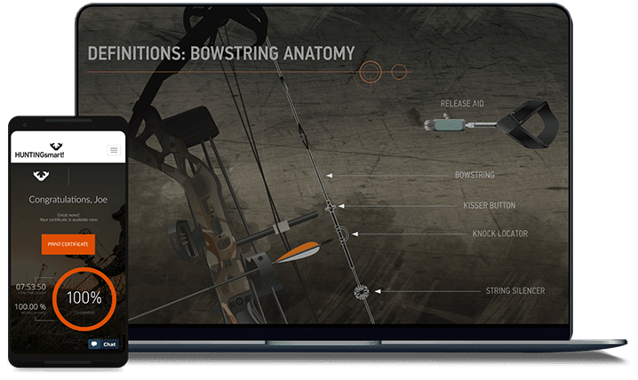 HUNTINGsmart! Bowstring anatomy course screen on laptop