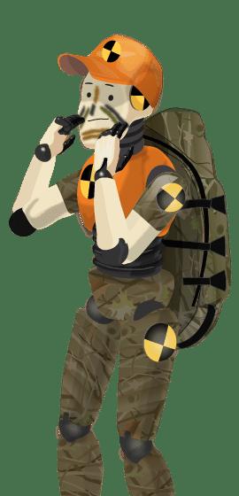 Crash Test Hunter applying face camo